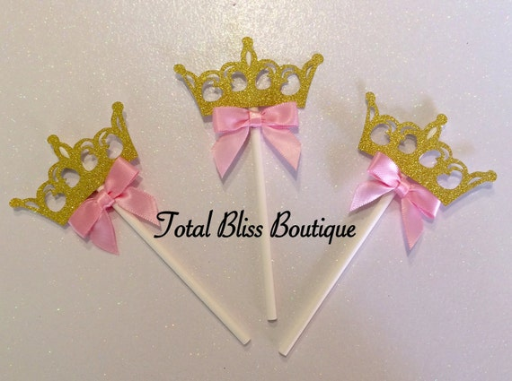 Princess Cupcake Toppers Gold Crown Decorations Princess Party Little Princess Favors Princess Theme Decorations Pink And Gold Decor