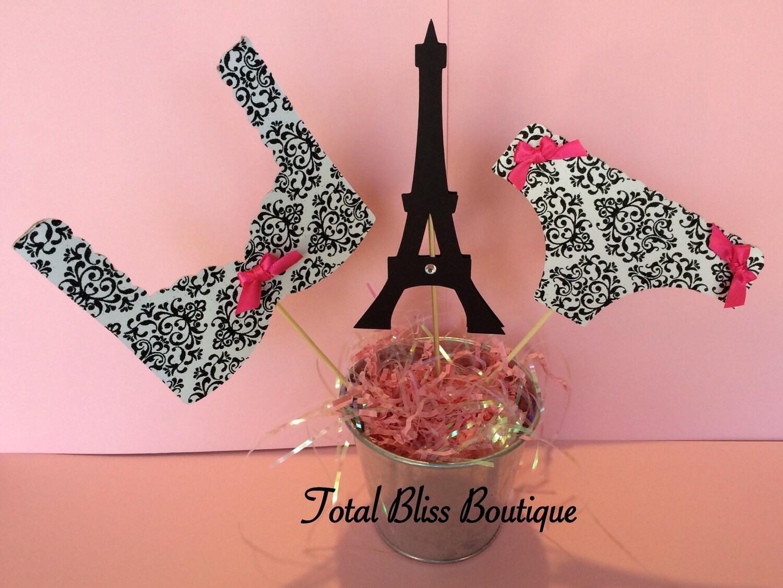 Paris/Damask Lingerie Centerpiece Paris Theme Bachelorette   Etsy