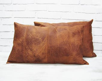 Delicieux Leather Pillow   Etsy