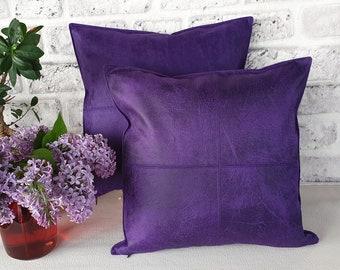 Home Decor Cushions 1Pcs Grey Purple Eggplant Pillow Case Cushion Cover Watercolor Geometric