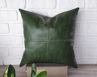 Dark green color rustic old pattern soft faux leather fabric pillow cover-1QTY