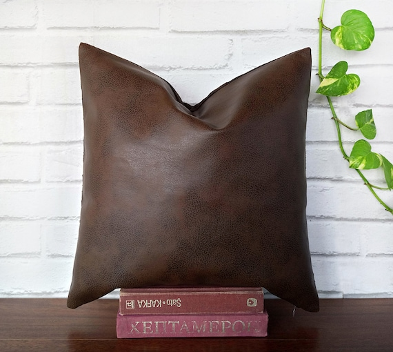 Brilliant Fast Shipping Brown Faux Leather Pillow Cover Old Lookprint Pattern Back Side Dark Brown Suede Scandinavian Home Decor Housewarming T 1Pc Andrewgaddart Wooden Chair Designs For Living Room Andrewgaddartcom