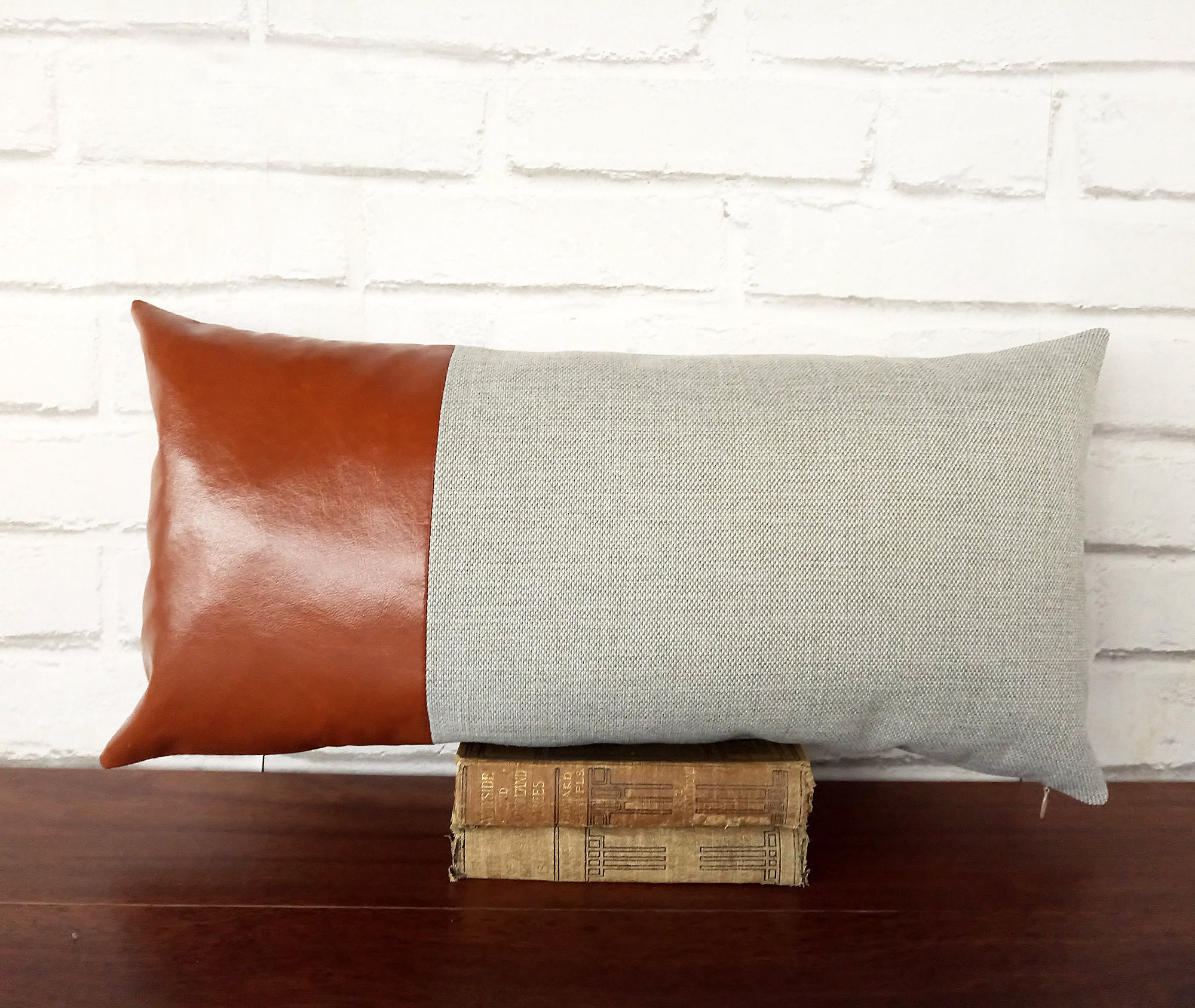Fast Shipping Cognac Brown Faux Leather 6 Colors Gray Linen Etsy