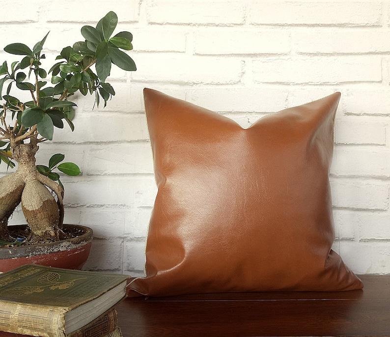 Cognac Bio Flora Brown Faux Leather Pillow Cover Modern