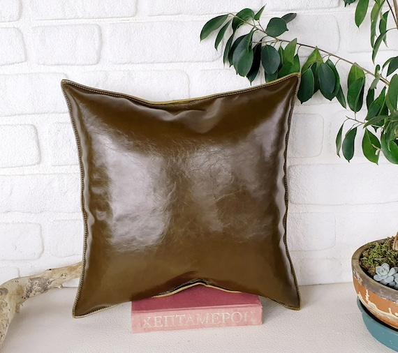 Olive green color thick velvet-baby face super soft fabric pillow cover-1QTY