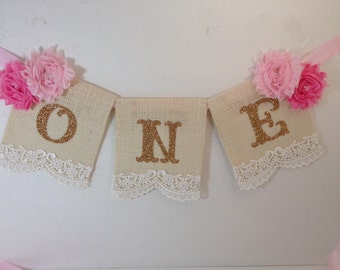 Baby's First Birthday High Chair Banner with Gold Lettering, pink gold one banner, first birthday, baby, high chair banner