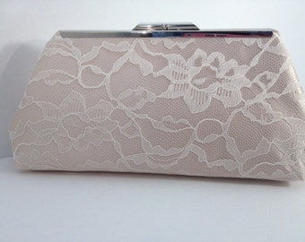 Ivory Lace Over Champagne Satin Clutch Purse, Bridesmaid Clutch, Bridal Purse, Wedding, Bridesmaid Gifts, Special Occasion, Accessory