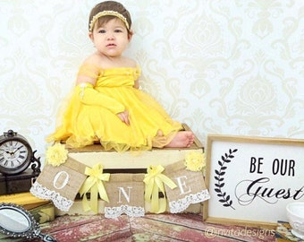 Yellow Belle Inspired Pearls and Lace Baby's First Birthday High Chair Banner; Burlap banner, Shabby Chic, be our guest invitation prop