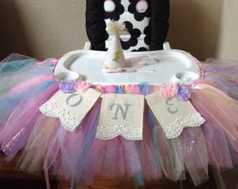 Baby's First Birthday High Chair Tutu and one Banner; Burlap , Shabby Chic, Burlap, Lace and Ribbon, Banner tutu, Baby, Photo Prop, One