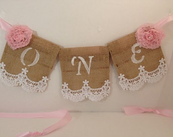 Baby's First Birthday High Chair Banner; One Burlap banner, Shabby Chic,Girl Birthday, Burlap, Lace and Rib