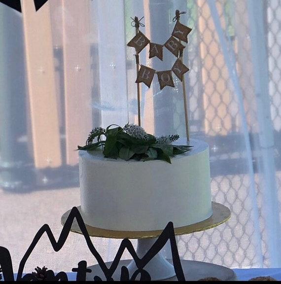 Baby Boy Custom Burlap Cake Banner, shabby chic cake topper, baby shower  cake topper, baby banner