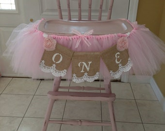 Baby's First Birthday High Chair Banner; Burlap banner, Shabby Chic, Burlap, Lace and Ribbon, High Chair tutu