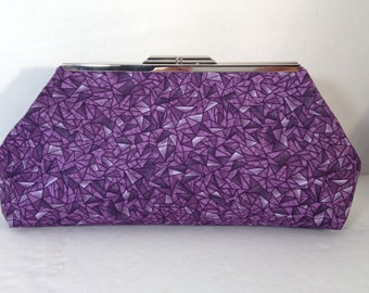 Purple Geometric Print Clutch Purse with Silver Finish Snap Close Frame, Bridesmaid purse, bridesmaid gift