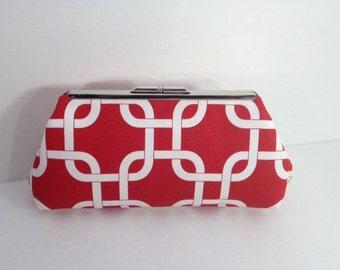 Red Geometric Link Cotton Clutch Purse, Red White Blue Clutch
