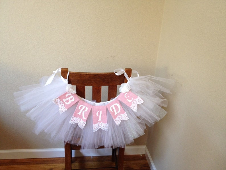 Banner Garland Shabby Chic Bridal Shower Decor Wedding Bridal Veil Chair Garland with Bride Lace Banner Package