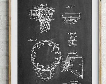 Vintage Basketball Hoop Patent Poster, Basketball Goal, Basketball Coach Gift, Basketball Room Decor, PP0323