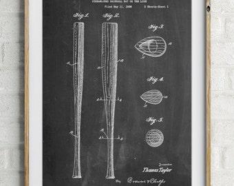Vintage Baseball Bat 1939 Patent Poster, Vintage Sports, Boys Room Wall Decor, Baseball Coach Gift, Baseball Wall Art, PP0089