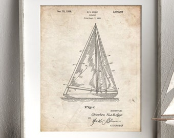 Sailboat Patent Poster, Sailboat Art, Nautical Decor, Beach House Wall Decor, PP1042