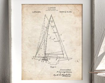 Sailboat Rigging Patent Poster, Sailboat Poster, Beach House Decor, Sailing Art, Vacation House, Sailor Gift, PP0942