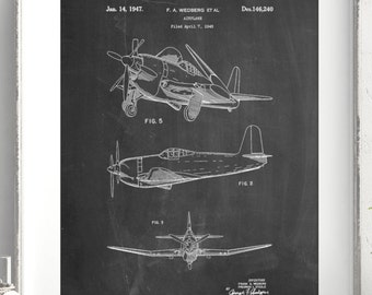 Propeller Low Wing Airplane Decor, Airplane Decor, Aviation Decor, Airplane Poster, PP0082