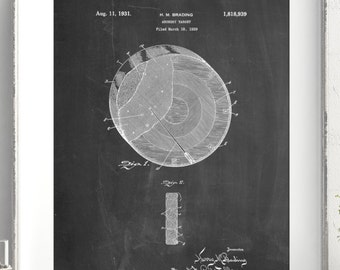 Archery Target Patent Poster, Bullseye, Archer Poster, Hunting Gift, Bow and Arrow, PP0439
