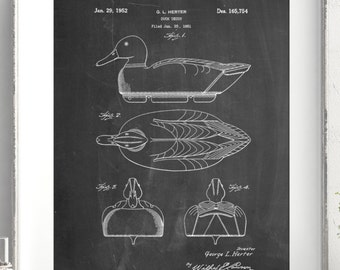 Duck Decoy Patent Poster, Duck Hunting, Gifts for Hunters, Cabin Decor, PP0161