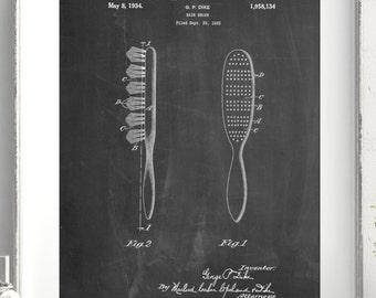 Wooden Hair Brush 1933 Patent Poster, Vintage Hair Brush, Girls Room Wall Decor, Vanity Decor, Hair Salon Art, PP0352