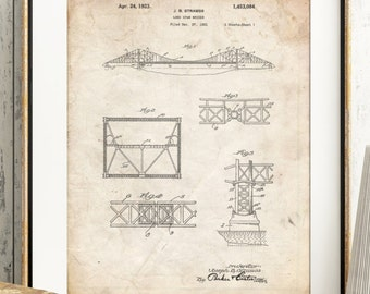Golden Gate Bridge Patent Poster, California Wall Art, San Fransisco Wall Art, Golden Gate Bridge Art, Architect Gift, Engineer Gift, PP0350