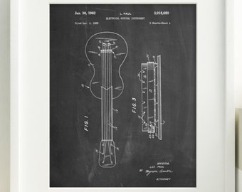 Gibson Les Paul Guitar Patent Poster, Electric Guitar, Teen Boys Room Decor, Guitar Art, Music Decor, PP0140