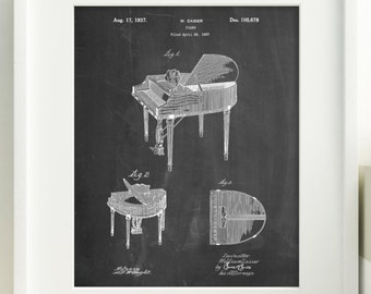 Piano Patent Poster, Music Room Decor, Piano Art, Musician Gifts,  PP0252