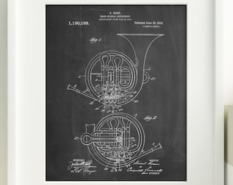 French Horn 1914 Patent Poster, Orchestra, Music Room Decor, Musical Instrument, PP0188 Z1016
