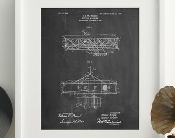 Wright Brother's Aeroplane Patent Poster, Aviation Nursery, Pilot Gift, Airplane Decor, Airplane Baby, Aviation Gift, PP1139 Z1016