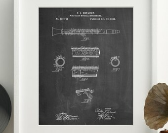 Clarinet 1894 Patent Poster, Musician Gift, Music Room Decor, Band Director, Jazz Poster, PP0768