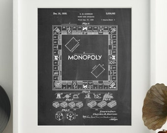Patent posters patent art and blueprint art by patentprints monopoly patent poster board game art monopoly blueprint board games pp0131 z1016 malvernweather Image collections