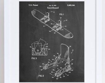 Baseless Binding 1995 Snowboard Patent Poster, Snowboard Art, Snowboarding, Snowboard Decor, PP0246