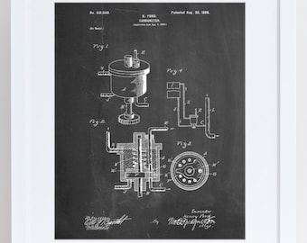Carburetor 1898 Patent Poster, Henry Ford, Automotive Art, Garage Decor, Car Part Art, PP0273