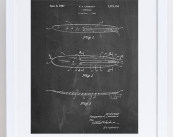Surfboard 1965 Patent Poster, Surf Art, Surfer, Beach House Decor, Summer Art, Beach Decor, PP1073