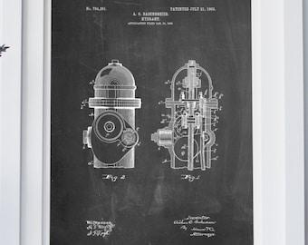 Fire Hydrant 1903 Patent Poster, Firehouse, City Art, Apartment Art, Fireman Gift, PP0210