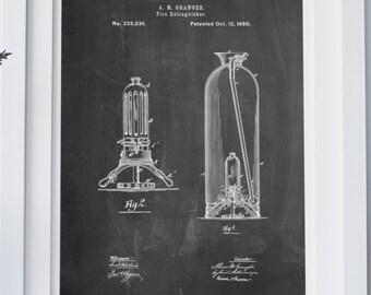 Antique Fire Extinguisher 1880 Patent Poster, Firehouse, Fireman Gift, Firefighter Decor, Restaurant Decor, PP0461
