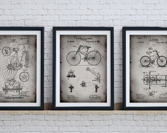 Bicycle Art Patent Print Group of 3, Cycling Art, Vintage Bicycle, Bicycle Wall Art, PP1149