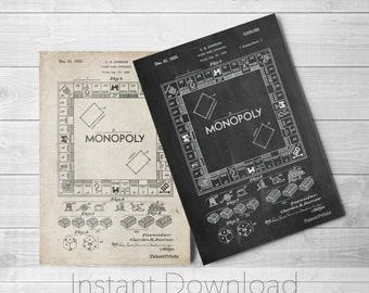 Monopoly patent poster board game art monopoly blueprint monopoly printables board game art monopoly blueprint board games pp0131 malvernweather Choice Image
