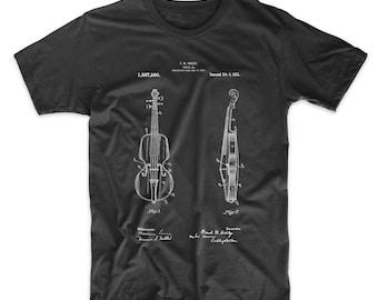 e4bff122e Violin Patent T Shirt, Stringed Instruments, Violin Shirt, Violinist,  Orchestra, Symphony, Musician Gift, PP0853