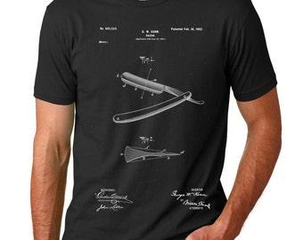 Straight Razor Patent T Shirt, Barber Gift, Barber Shirt, Beard Shirt, PP1178