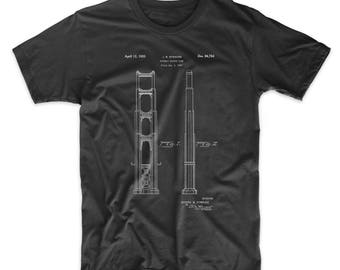 19d85e99a016e1 Golden Gate Bridge Main Tower Patent T Shirt