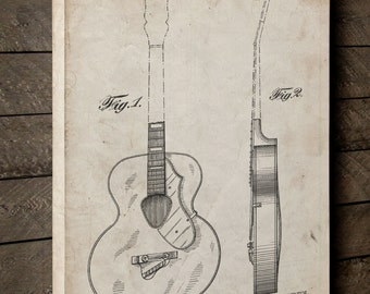 6022 Rancher Patent Canvas Art, Music Canvas, Guitar Decor, Music Room Decor, Canvas Wall Decor, PP0138
