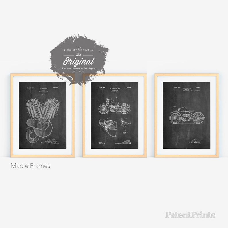 Harley Motorcycle Patent Posters Group of 3 Harley Davidson 24x36 Maple Framed inches