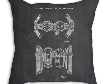 Star Wars TIE Bomber Patent Pillow, Star Wars Pillow, Star Wars Decor, Starwars Pillow, Star Wars Ships, PP0102