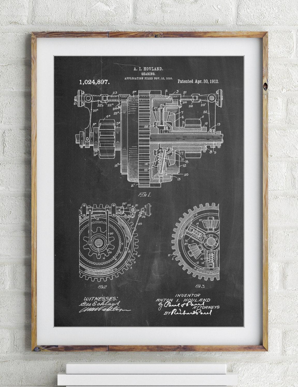 Mechanische Getriebe 1912 Patent Poster industrielle Kunst