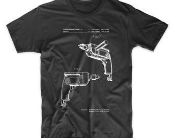Electric Drill Patent T Shirt, Unique Gifts for Dad, Tool Shirt, Woodworking Tools, PP1024