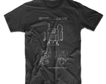 Portable Router Patent T Shirt, Woodworking Tools, Tool Shirt, Unique Dad Gift, PP1025
